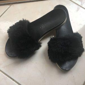 Italian Leather Black Fuzzy Slides Flip Flops